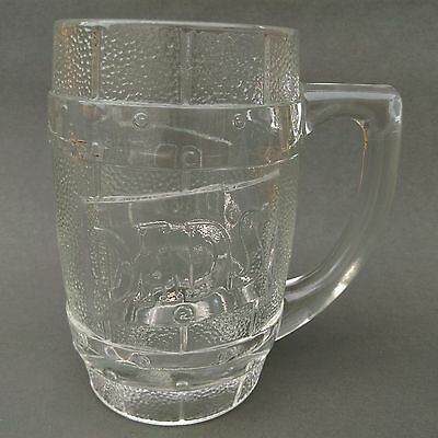 Original Dads Old Fashioned Root Beer heavy etched clear glass Barrel Mug Stein