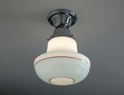 New Deco Painted Schoolhouse Ceiling Light w/ Painted Robins Egg and Mocha Bands