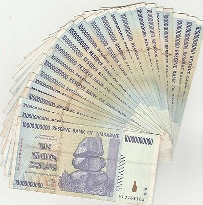 Zimbabwe 10 Billion Dollar Note CIRCULATED 25 Notes AA/AB 2008 Series