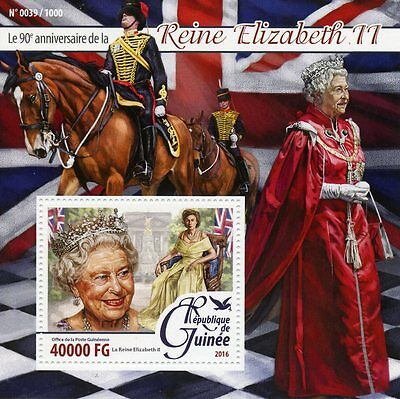 Guinea 2016 MNH Queen Elizabeth II 90th Birthday Anniv 1v S/S Royalty Stamps