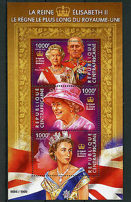 Central African Rep 2015 MNH Queen Elizabeth II Longest Reigning 3v M/S Stamps