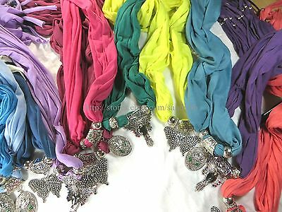 US SELLER-12pcs wholesale lot pendant scarf jewelry necklace Fashion Scarves