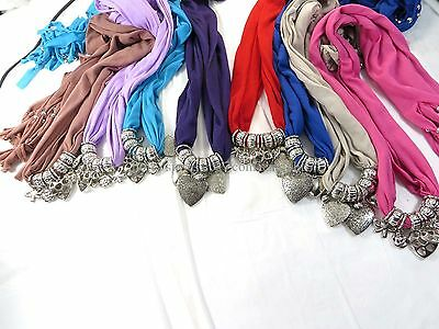 US SELLER-12pcs multiple hearts scarf jewelry necklace gift bulk scarves