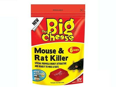 THE BIG CHEESE Mouse and Rat Killer For Home and Garden 6 Sachets