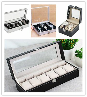 2/6/12 Grid Slots Aluminium Box Collection Jewelry Organizer Watch Case Display