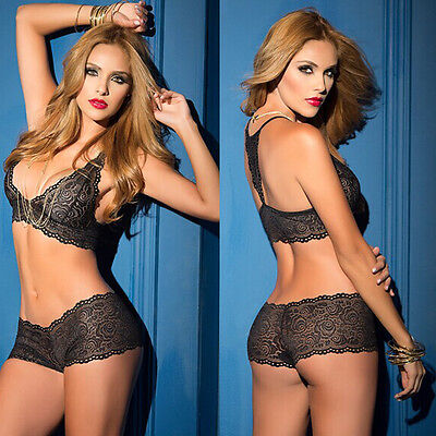 Sexy Women's Lace Push Up Side Support Underwear Lingerie Panties Bra Sets Black