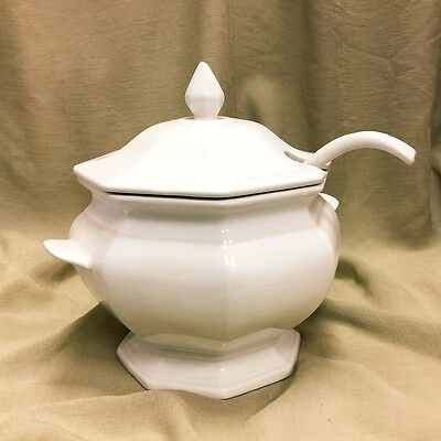 Vintage California Pottery White Soup or Punch Bowl Tureen With Lid and Ladle
