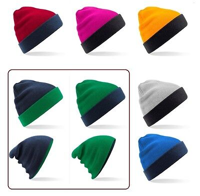 GREEN YELLOW GREY PINK BLUE Reversible Contrast Beanie Ski 1 Hat 4 OPTIONS