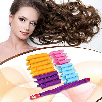 18pcs Hair Curlers Styling Spiral Ringlets Hairband Perm Magic Circles Rollers