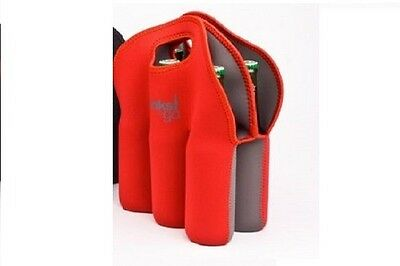 Red Six Pack Beer Tote Built Bottle Insulated Neoprene Cooler DRINKS TO GO