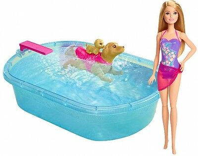 Barbie Learn Swimming Dog Pup Puppy Pets Pool And Diving Board Mobile Set Toy