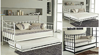 Day Bed and with Trundle Mattress Option Black White Metal Frame Stylish New