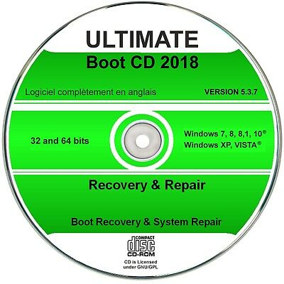 Ultimate Boot & CD de restauration, windows 10, 8, 7, vista, xp - aide d'urgence