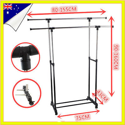 Deluxe Portable Adjustable Double Rail Clothes Hanger Rolling Garment Rack New