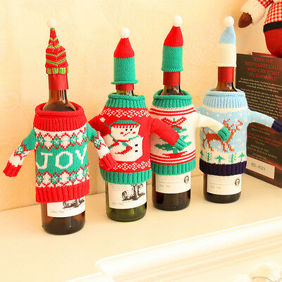 Wine Bottle Cover Bag Knitted Sweater Hat Gift Bag Christmas Tree Bar Decor