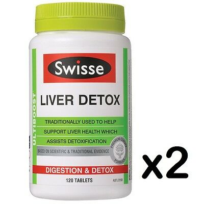 Swisse Ultiboost Liver Detox Digestion Support Indigestion Bloating 120 Tabs x2