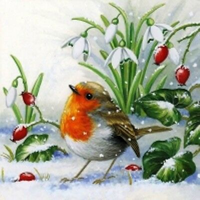 4 x Single Paper Table Napkin/Decoupage/Decopatch/Dining/Christmas/Robin