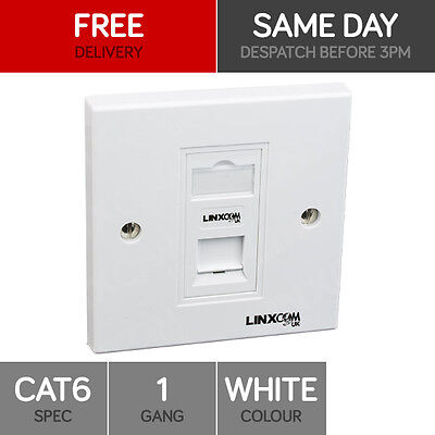Single Port Cat6 Idc Wall Outlet - Rj45 1 Way Face Plate Network Lan Socket