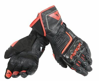 Dainese Carbon D1 Long Fluo Red Leather Motorcycle Motorbike Sports Gloves