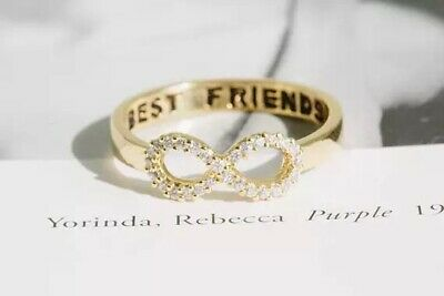 Gold Infinity Best Friends Ring Size 6 (M) Friendship Woman  Gift Uk Seller
