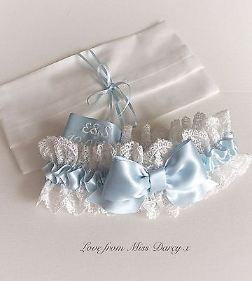 Ivory Blue Personalised Lace Bridal Wedding Hen Brides Miss Darcy Garter and Bag