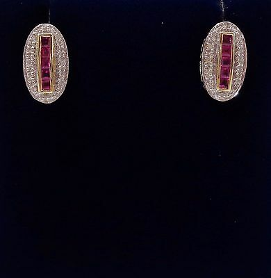 9ct Yellow Gold Ruby and Diamond Stud Earrings - Art Deco Style