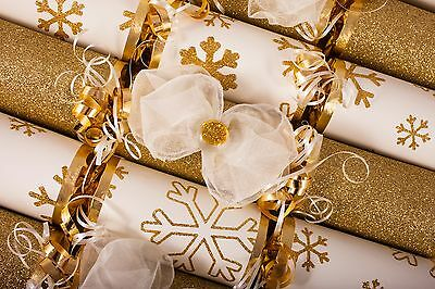 Luxury Gold Snowflake N Cream Bow  Christmas Crackers Handmade