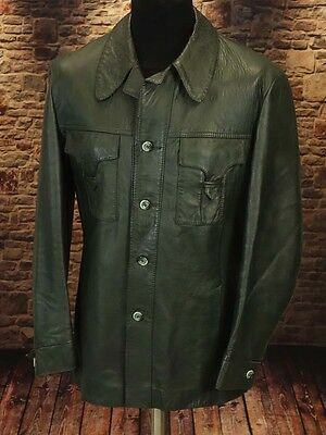 Leather jacket, safari boho soul 60s 70s TRUE VINTAGE Size XL  (LJ114)