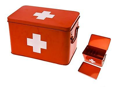 Medicine Storage Box Large Red Metal Case First Aid Bandage Plaster Storage Tin