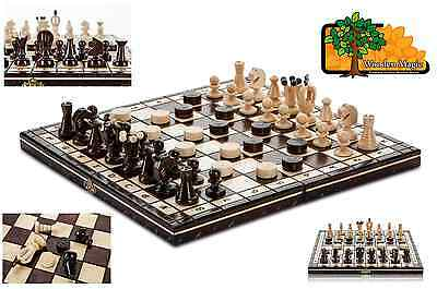 LUX KINGDOM DRAUGHTS - 35cm / 14in Handcrafted Wooden Chess Set with Checkers