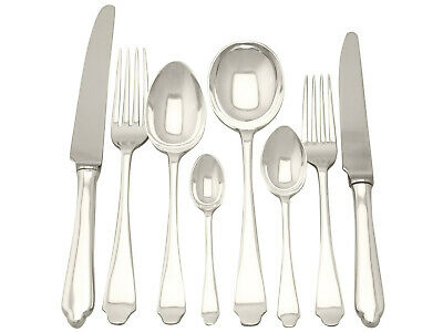 Antique George VI, Sterling Silver Canteen of Cutlery for Six Persons