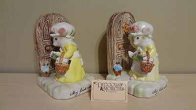 "Rare Vintage Avon The Precious Moments Collection ""My First Call"" Mice Book Ends"