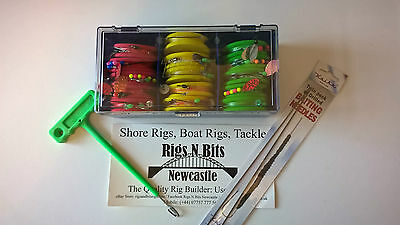 Sea fishing Rigs x 15 shore rigs on rig winders in case + disgorger  Bait needle
