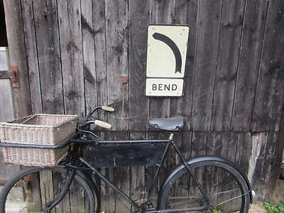Vintage Bend In Road Sign With Post  Bracket Classic Original