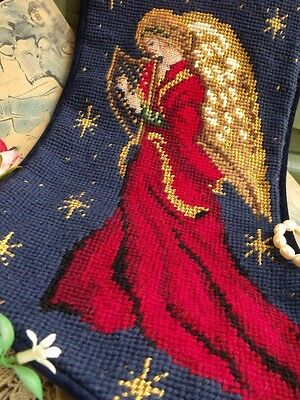 Vtg. Completed Needlepoint Christmas Stocking GIFT ~ Fairy Angels Musical Peace
