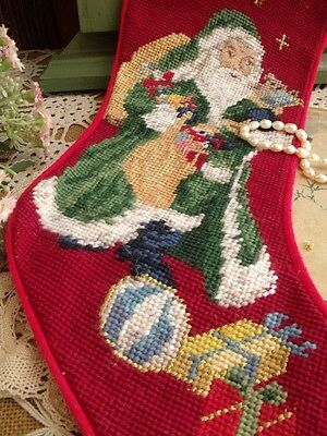 Vintage Completed Needlepoint Christmas Stocking GIFT~ Santa Star Gift  Red