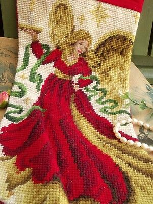 Vtg. Completed Needlepoint Christmas Stocking GIFT ~Fairy Angel red gold ribbon