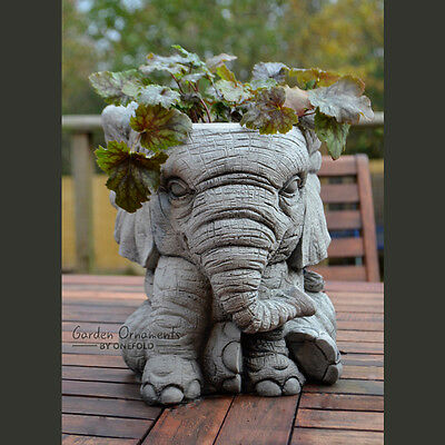 ELEPHANT POT Hand Cast Stone Garden Ornament Flower Planter Basket ⧫onefold-uk