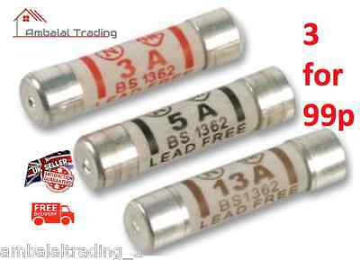 Mixed Domestic Fuses 3AMP 5AMP 13AMP Plug Mains Cartridge Fuse - 6 for 29p Each