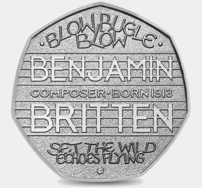 2013 50P Coin Rare Benjamin Britten Composer 100 Years Anniversary Fifty Pence @