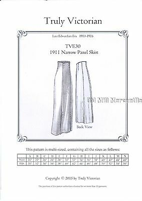 Sewing Pattern for 1911 Edwardian Panel skirt Truly Victorian TVE30