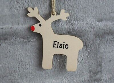 Personalised Reindeer Christmas Tree Decoration Ornament Wooden Bauble Name Xmas