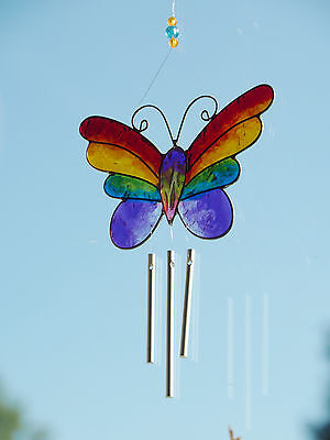 Colourful Rainbow Butterfly Wind Chime Mobile Sun Catcher Fair Trade From Bali