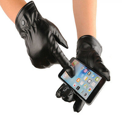 New Mittens Winter Warm Gloves Driving Men's Women Leather Gloves Touch Screen