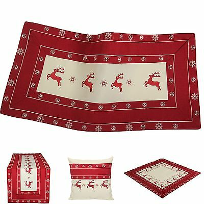 Christmas Table Runners Placemats Tablecloths Cushion Cover Creme Red Reindeer
