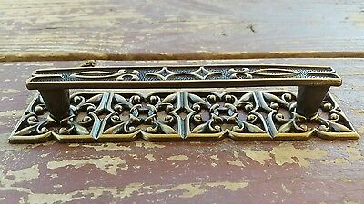 "Vtg MCM Furniture Drawer Pull Handles Brass Ornate Backplate 1.5x6"" 4.5"" Centers"