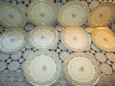 Paden City Potttery China Warranted 22k gold antique plates