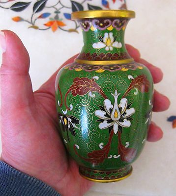 Antique Asian Cloisonne Vase Of Extremely Good Quality