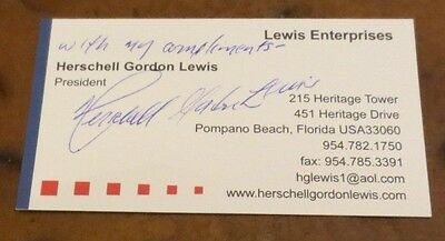Herschell Gordon Lewis Godfather of Gore signed autographed business card