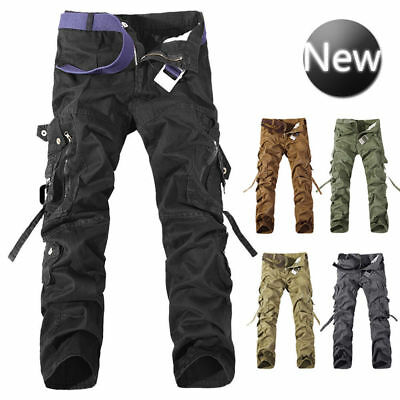 Mens Cargo Work Trousers Army Military Combat Hiking Pockets Casual Canvas Pants